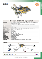 Actebis Exsys EX-44094 PCI-Express 4S Serial RS-232 card 15.06.1102 Leaflet
