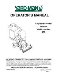 MTD Yard-Man 203 User Manual