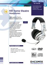 Dacomex Studio Hi-Fi Headset + Microphone 059180 Leaflet