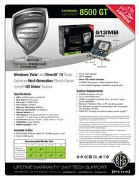 BFG Tech 8500GT 256MB 150851 Leaflet