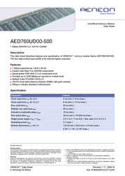 Infineon DDR 1GB PC400 CL3 AED760UD00-500 Data Sheet