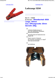 Set ® 2105300 SZ60 600 A Jump Lead Clamp Screw connection for cable lugs via M6 eyelet 600 A Red 2105300 Data Sheet