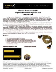 Offspring Technologies GoldX® PlusSeries® Hi-Def DVI Video Cable 6 Feet GXDV-D2-06 Leaflet