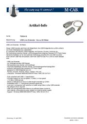M-Cab USB Line Extender 7000418 Leaflet