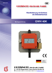 Greisinger GWH 40K Wall holder GWH 40 with lock as burglary protection Compatible with Data logger EASYLog 603341 Data Sheet