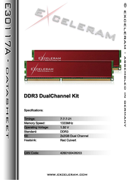 Exceleram 4GB DDR3 PC3-10666 E30117A Leaflet