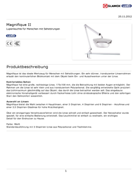 Glamoxluxo MAGNIFIQUE 11 W 1.8 x - 3 dioptre Magnifying Workshop Lamp MAG017401 Data Sheet