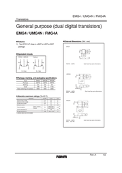 Rohm Semiconductor FMG4AT148 Bipolar Transistor Emitter reverse voltage U(CEO) 50 V FMG4AT148 Data Sheet