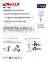 Buffalo WLI-U2-AG108  A&G Wireless USB 2.0 Adaptor WLI-U2-AG108-3 Leaflet
