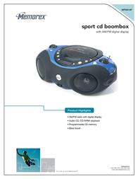 Memorex Sport CD Boombox MP3851SP Leaflet