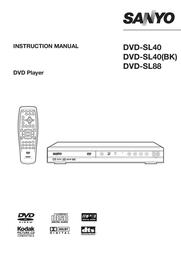 Sanyo Ultra Slim DVD Player DVD-SL40 DVDSL40 User Manual