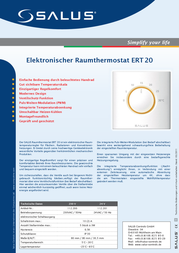 Salus Controls Room thermostat Structure 24 h mode 5 up to 26 °C 112200 Data Sheet