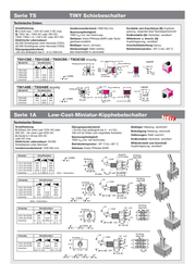 Eledis APEM 1A33-NF1STSE 2A Toggle Switch, , 1A33-NF1STSE Data Sheet