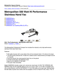 Metropolitan Vacuum Cleaner Company VM4BS500 User Manual