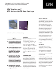 IBM LTO Ultrium 200 GB Data Cartridge 08L9870 Leaflet
