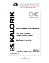 KALORIK Kalorik - Team International Group Slow Cooker SC 37175 User Manual