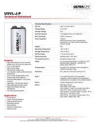 Ultralife U9VL-JPFP6 Data Sheet
