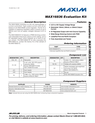 Maxim Integrated MAX16836 Evaluation Kit MAX16836EVKIT+ MAX16836EVKIT+ Data Sheet