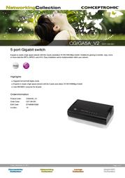 Conceptronic 5 port Gigabit switch C07-104 Leaflet
