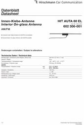Hirschmann Car Communication Hirschmann Hit Auta 60 El 602306-001 Data Sheet