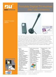 New Universe Digital TV receiver UBT100 9UBT100S001 Leaflet