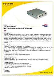 """DeLOCK 3.5"""" USB 2.0 Card Reader 24in1 Multipanel 91606 Leaflet"""