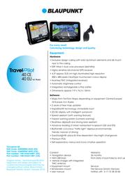 Blaupunkt TravelPilot 40EUR 1081234410001EUR Leaflet