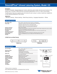 Williams Sound SoundPlus Infrared Listening System 125 User Manual