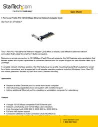 StarTech.com 1 Port Low Profile PCI 10/100 Mbps Ethernet Network Adapter Card ST100SLP User Manual