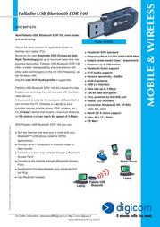 Digicom Palladio USB Bluetooth EDR 100 8E4260 Leaflet