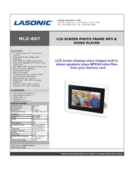 Lasonic mlx-807 Specification Guide