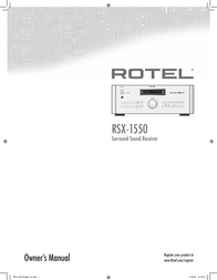 Rotel RSX-1550 User Manual