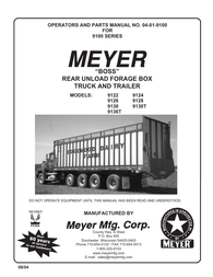 "Meyer ""Boss"" Rear Unload Forage Box Truck and Trailer User Manual"