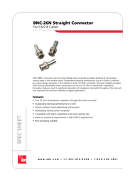 ADC Straight Connector BNC-26N User Manual