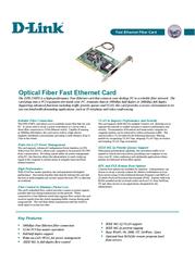 D-Link 32 Bit 100Base-FX PCI Adapter with Flow Control, VLAN & WOL DFE-550FX Leaflet