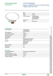 Schneider 0.5m UTP Cat5e Cable VDIP181546005 Data Sheet