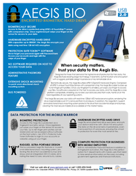 Apricorn AES Encryption Hard Drive - 120GB A25-BIO-120 Leaflet