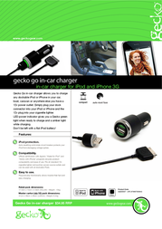 Gecko Gear In-Car Duo-Charger GG100CC30PB Leaflet