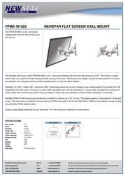 Newstar LCD/LED/TFT wall mount FPMA-W1020 Leaflet