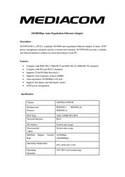 Mediacom PCI/Ethernet M-NTPCI100 Leaflet