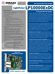 Emulex Dual Channel 2Gb/s Fibre Channel PCI Express HBA LP10000EXDC-E Leaflet