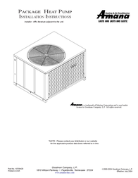 Amana PACKAGE HEAT PUMP User Manual