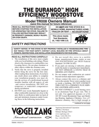 Vogelzang International Stove TR008 ユーザーズマニュアル