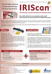 I.R.I.S. IRIScan + Readiris Pro 8 HRISCA4PCEU800 Leaflet
