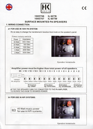 HK Audio IL 60-TW 4039373007688 Data Sheet