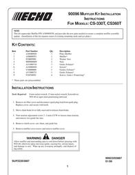 Echo 90096 MUFFLER KIT CS360T User Manual