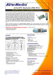 AVerMedia AVerTV Hybrid+FM PCI VGAV1060 Leaflet