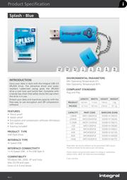 Integral USB 2.0 Splash Drive 4GB INFD4GBSPLB User Manual