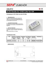 Sepa Fan ballast LMV12W12/220-240V Operating voltage 198 - 264 V/50-60 Hz Power 12 W 908522120 Data Sheet