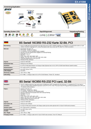 EXSYS EX-41098 8S Serial 16C950 RS-232 PCI card, 32-Bit 15.06.2102 Leaflet